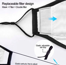 Load image into Gallery viewer, Cotton Reusable Face Mask with 2 Filters Washable Masks Cover Anti Carbon PM2.5.