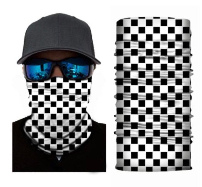 Black White Checkered Neck Gaiter Tube Bandana