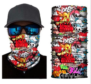 Graffiti Skull Seamless Neck Gaiter Tube Bandana
