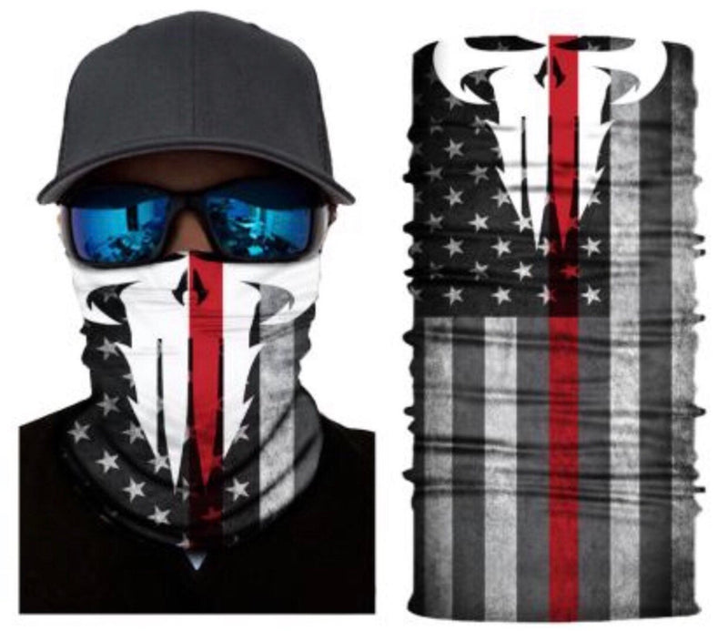 Punisher Thin Red Line Neck Gaiter Balaclava Tube Bandana