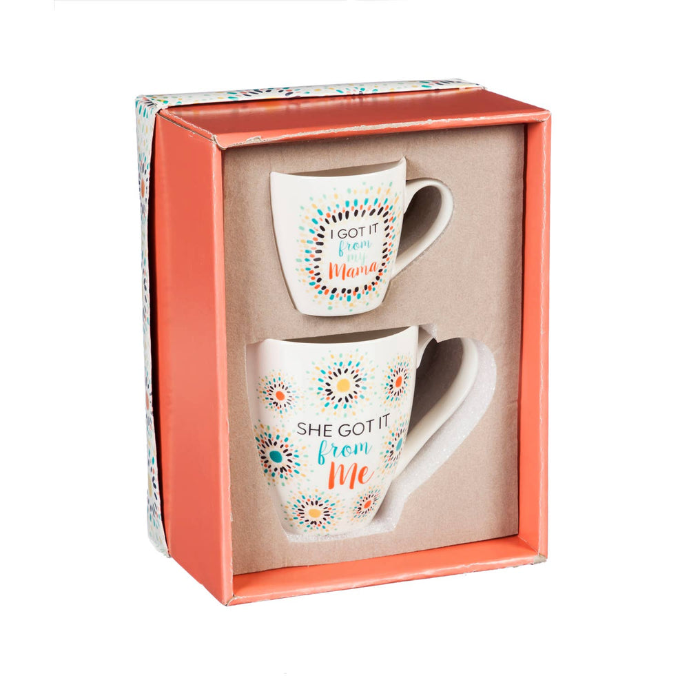 Mommy and Me Ceramic Cup Gift Set, She got it from me/ I got it from my Mama