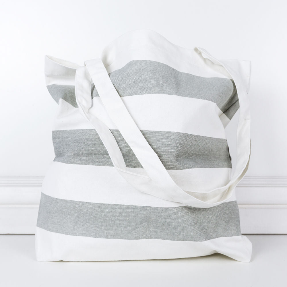 "Load image into Gallery viewer, 16.5"" X 15.75"" X .2"" Canvas Bag (Stripes), Gray/White"