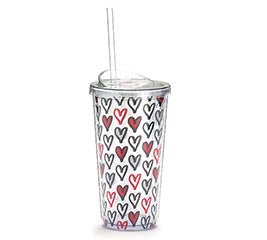RED AND BLACK HEARTS TRAVEL CUP
