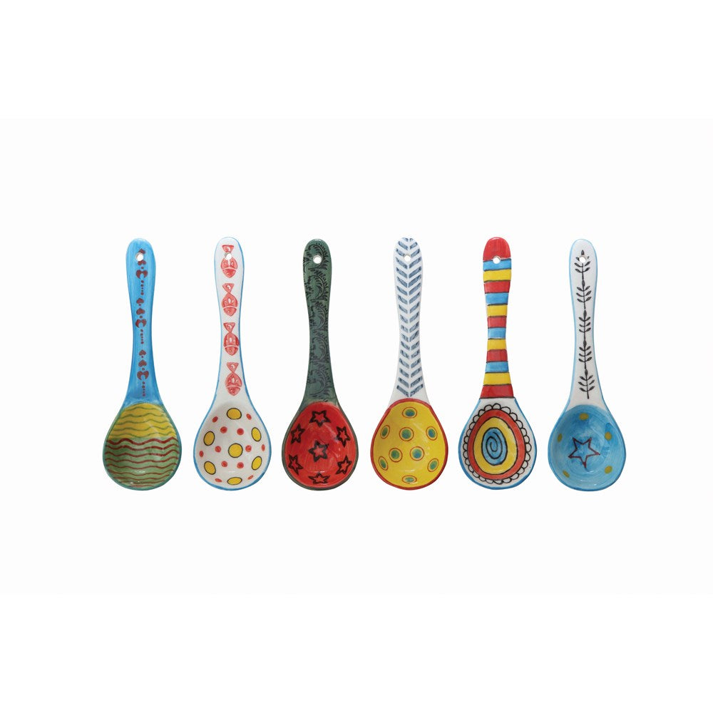 Stoneware Spoon w/ Painted Pattern