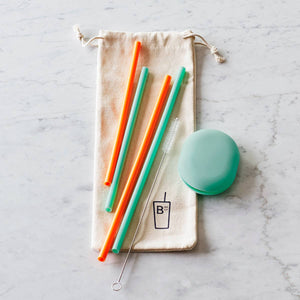 Reusable Silicone Straws Set of 4 in Pouch