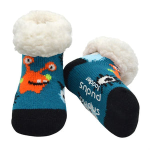 Load image into Gallery viewer, Toddler Classic Slipper Socks | Blue Monsters