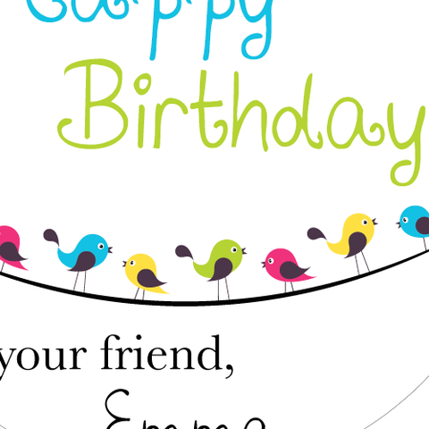 Little Birds Gathering Birthday Stickers