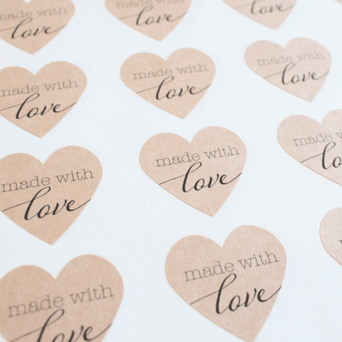 Made with Love Kraft Heart Sticker