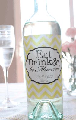 Chevron Eat Drink and Be Married Wine label