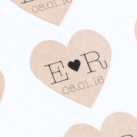 Kraft Heart with Initials Favor Label