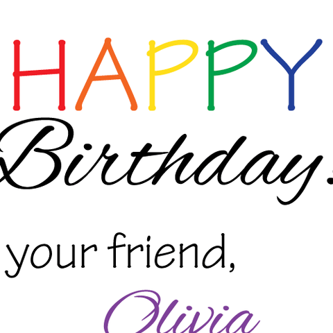 Kid's Birthday Present Label with Rainbow Text