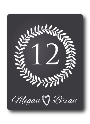 Chalkboard Laurel Wreath Table Number Wine Labels
