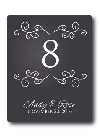 Chalkboard table Number Wine Labels