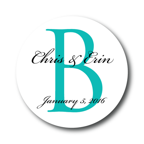 Classic Monogram Wedding Favor Label