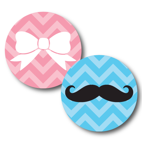 Bows And Mustache Gender Reveal Labels Custom Stickers