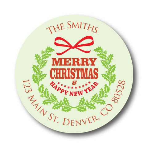 Green Wreath Address Label
