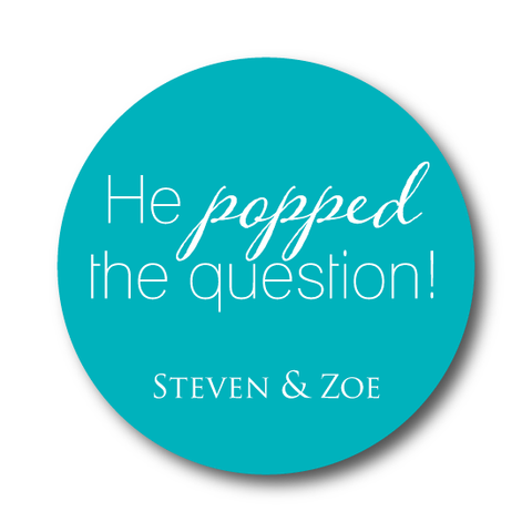 He Popped the Question Engagement Sticker