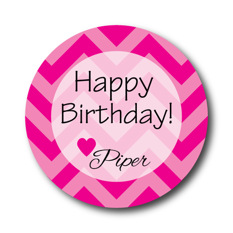 Hot Pink Chevron Birthday Sticker