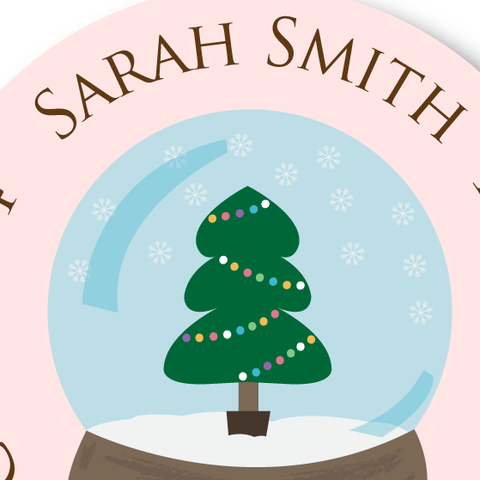 Christmas Tree Snow Globe Address Label