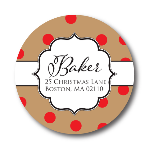 Rustic Red Polka Dots Address Label