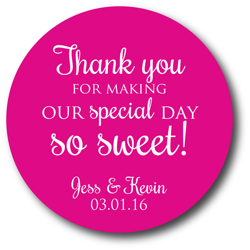 Thank you for making our special day so sweet! Favors – Stick \'em up ...