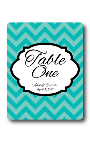 Chevron Table Numbers Wine Label