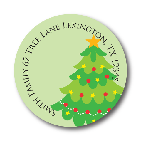 Holiday Christmas Tree Address Label
