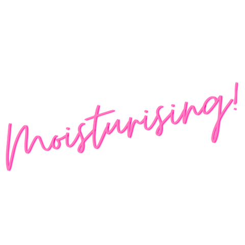 Pink text that reads Moisturising