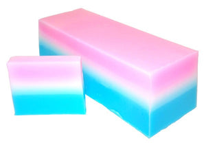 Handmade Soap slice in a 3 colour horizontal strip design with colours of blue white and pink