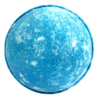A Blue Bath Bomb shown on white background, described as Angel Delight Dessert Bath Bomb