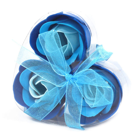 Soap Flowers - Set of 3 Heart Box - Blue Wedding Roses - S6 Soap