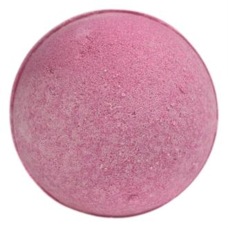 A Bubblegum scented Bath Bomb pink in colour shown on a white background description describes a jumbo shea butter bath bomb