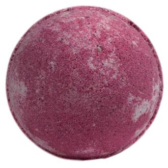 A large dark pink cherry coloured bath bomb shown on white background