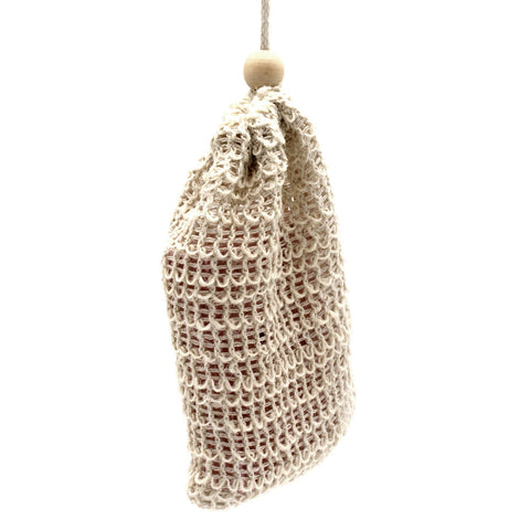 Jute Soap bag shown hanging on a white background
