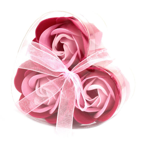 Soap Flowers - Set of 3 Heart Box - Pink Roses - S6 Soap
