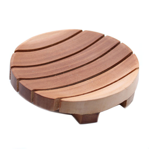 Wooden Soap Dish with drainage grooves shown on a white background