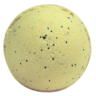 Vanilla Bath Bomb shown on white background.  Described as a calming scent, that is yellow in colour.  Pop Bath Bomb into warm water and watch it fizz away whilst the shea butter melts into the water and the essential oils are released.