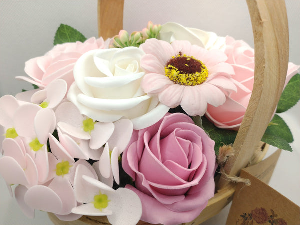 close up view showing the amazing detail of the soap flowers which look like real flowers in pretty pink and white colours