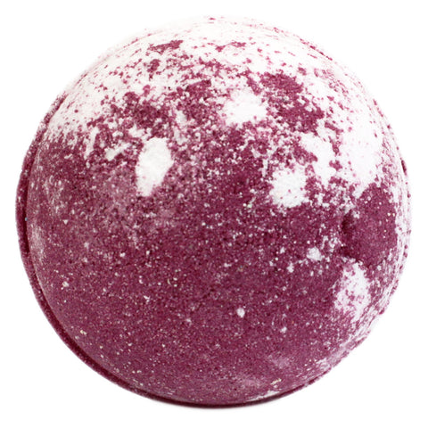 A Red and White Bath Bomb describe as strawbery pavlova
