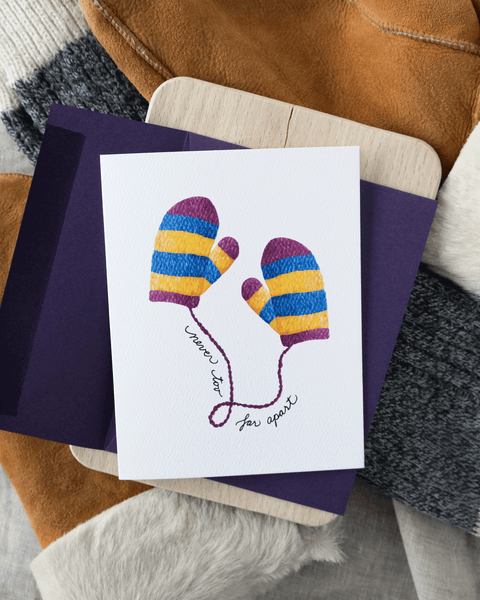 Never Too Far Apart Mittens Holiday Greeting Card