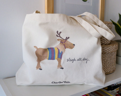 Sleigh All Day Reindeer Canvas Tote Bag