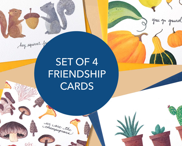 Set of 4 Hand-Illustrated Friendship Cards