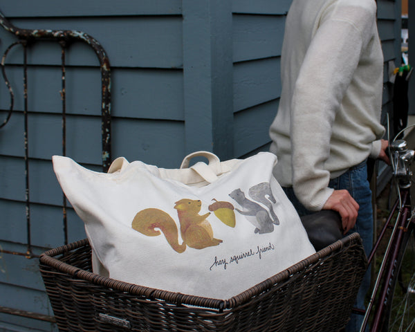 Hey Squirrel Friend Canvas Tote Bag