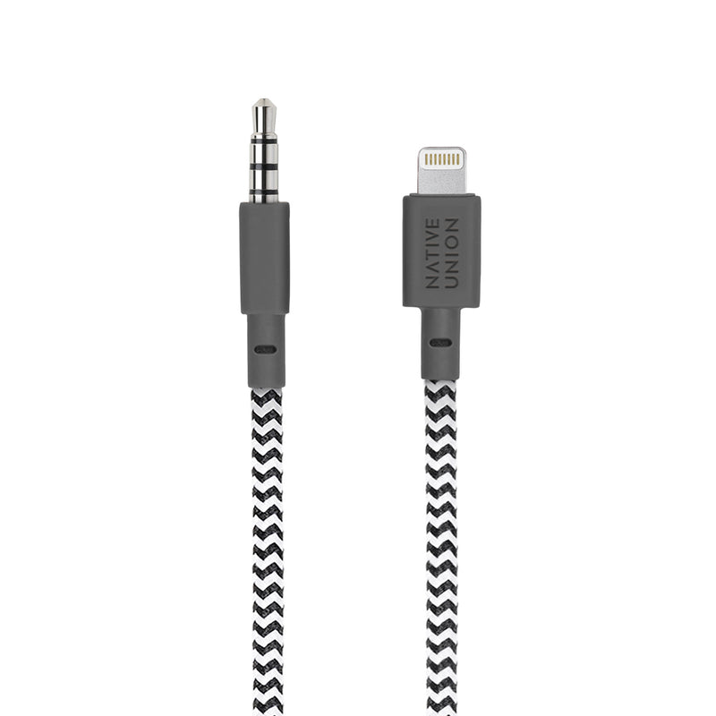 Native Union  BELTLAUXZEB Lightning to 3.5mm Headphone Adapter 4ft Zebra