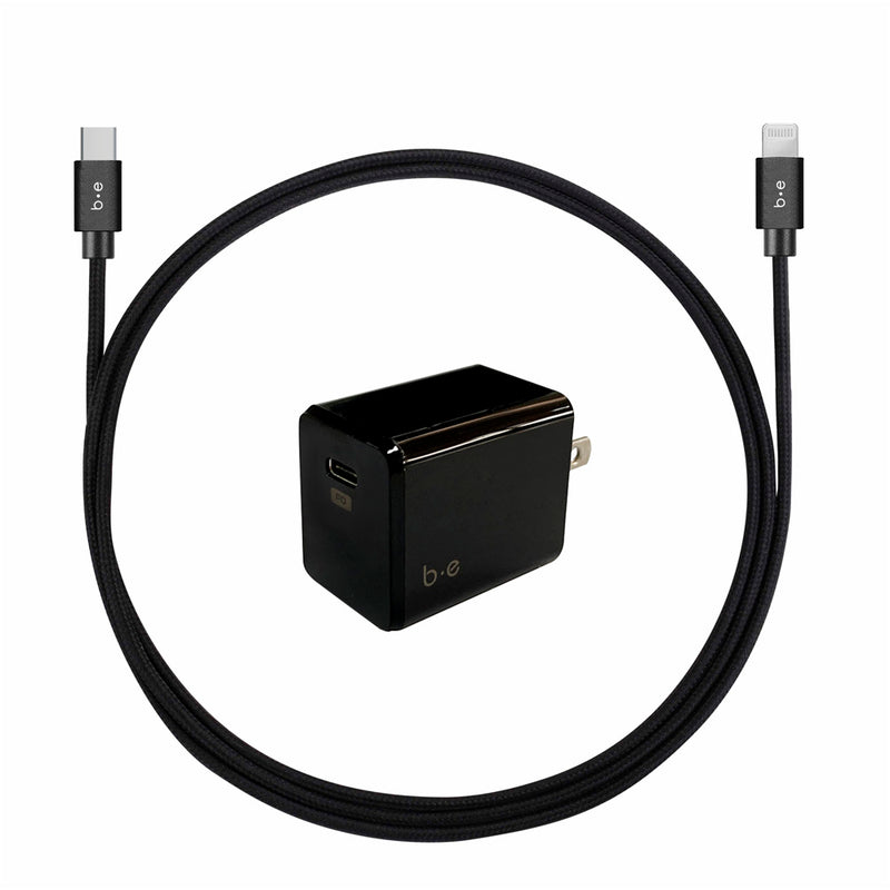 Blu Element  BEWCA4LB Wall Charger USB-C PD w/Lightning Cable 4ft Black