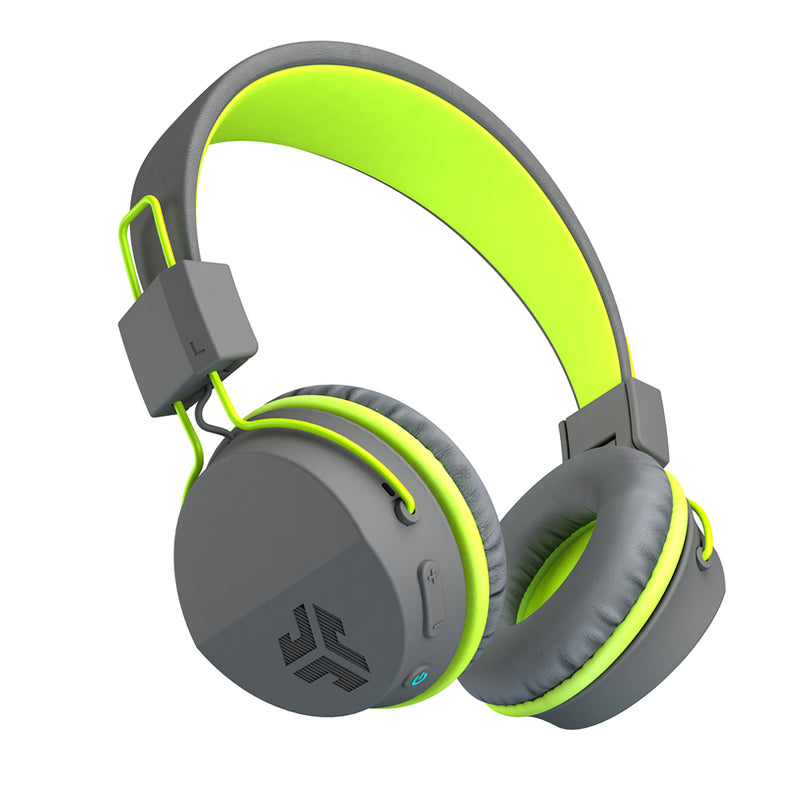 JLab Audio  IFCHBNEONRGRYGRN4 Neon BT Wireless On-Ear Headphones Grey/Green