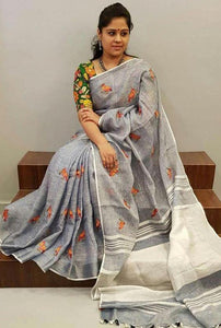 Fancy Look Grey Color Linen Digital Print Designer Saree With Stunning Blouse