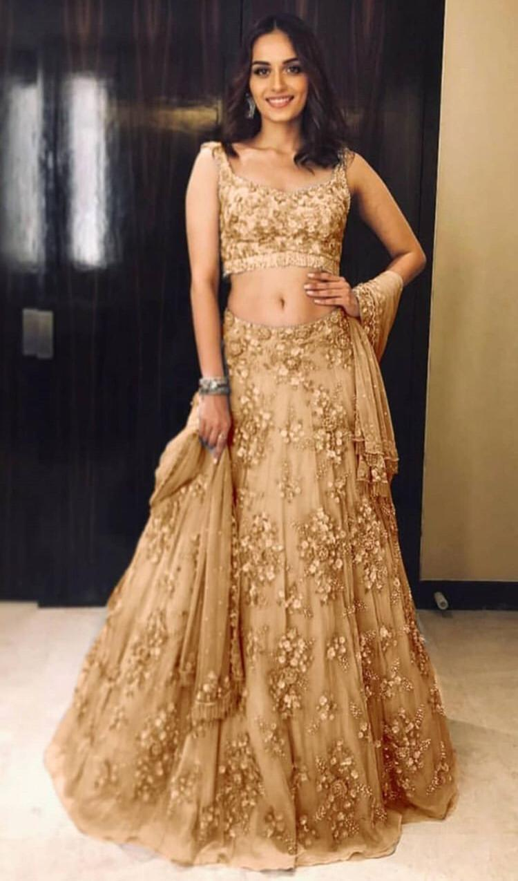 Alluring Brown Color Embroidery Work Lehenga Choli