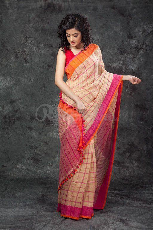 Beautiful Look Multi Color Linen Digital Print Designer Saree With Stunning Blouse