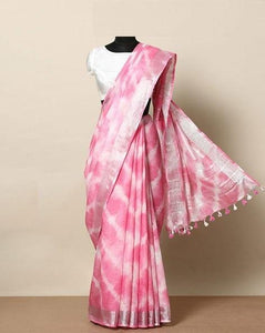 Party Wear Pink and white color Linen Designer Saree